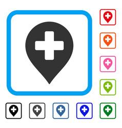 Medical cross marker framed icon vector