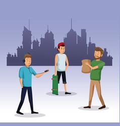 Men walking with bag shop skateboard city vector