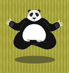Panda yoga chinese bear on background of bamboo vector