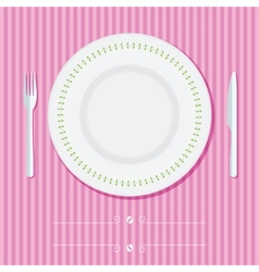 Place setting with plate knife and fork vector image