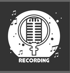 Recording studio black and white emblem with vector