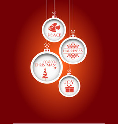 Red christmas background with hanging baubles vector