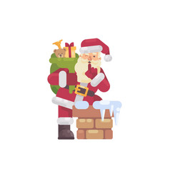 santa claus climbing into the chimney with a bag vector image