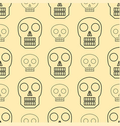 Seamless pattern style skulls faces vector