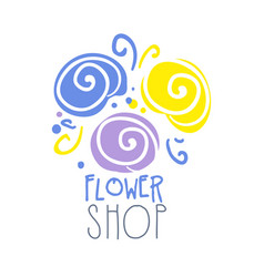 shop flower logo template colorful hand drawn vector image