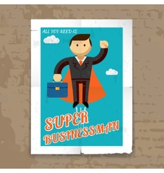 Super Businessman with Cape and Briefcase Graphic vector image vector image