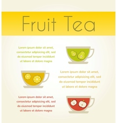 Three cups of tea with fruit tea infographics vector