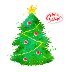 watercolor of christmas tree vector image