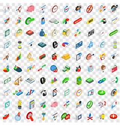 100 money wealth icons set isometric 3d style vector image vector image