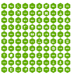 100 transport icons hexagon green vector image vector image