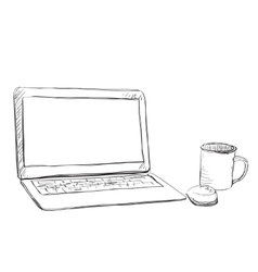 Workplace with handdrawn notebook vector