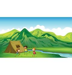 Three children playing vector image