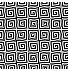 black and white meander pixel art seamless pattern vector image