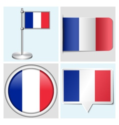 France flag - sticker button label flagstaff vector