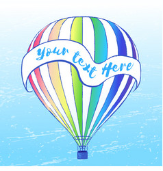 Ink hand drawn air balloon background vector