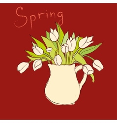 hand drawn sketch vase with tulips vector image