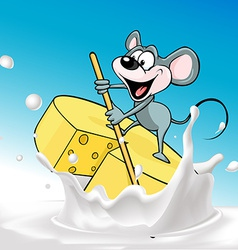 Mouse sails on raft cheese - vector