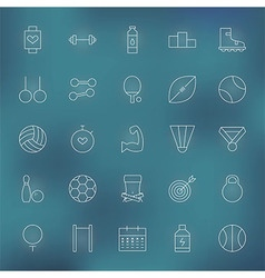 Sport and fitness line icons set vector