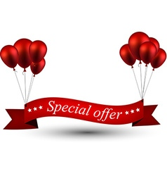 Special offer red ribbon background with balloons vector