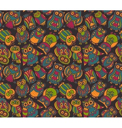 Seamless pattern with cute colorful owls vector
