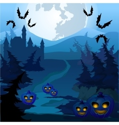 Trail through spooky forest with pumpkins vector