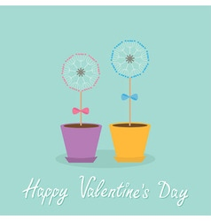 Happy valentines day love card two dandelion vector