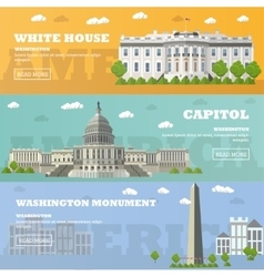 Washington dc tourist landmark banners vector
