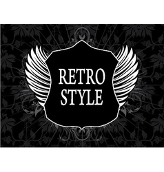 retro label with shield vector image