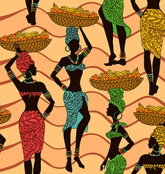 African seamless pattern of street vendors vector