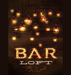 Bar loft glowing lights vector