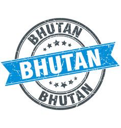 Bhutan blue round grunge vintage ribbon stamp vector