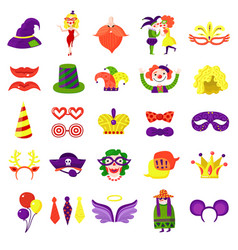 carnival masquerade big colorful set vector image