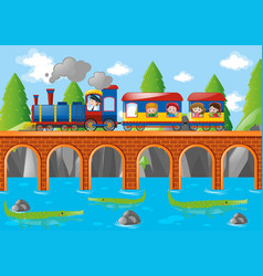 children riding on train over the bridge vector image