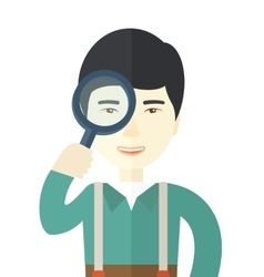Chinese man with magnifying glass vector