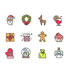 christmas collection of items vector image vector image