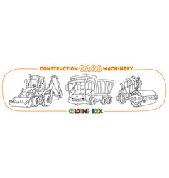 Construction machinery transport coloring book vector