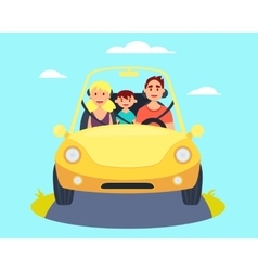 Family in car vector image vector image