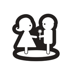 Flat icon in black and white pair of lovers vector