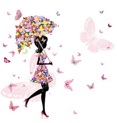 Flower girl with umbrella vector