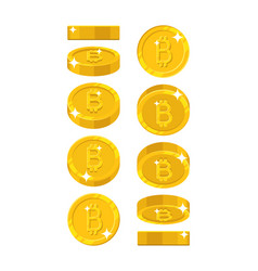 gold bitcoin views cartoon style isolated vector image vector image
