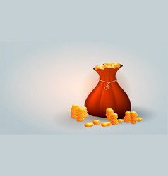 gold coins in a bag vector image