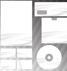 Gray swoosh wave stationery set mock-up vector