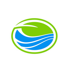 Green leaf ecology enviroment logo vector
