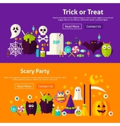 Halloween party website banners vector