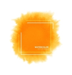 Hand painted orange watercolor splash with square vector