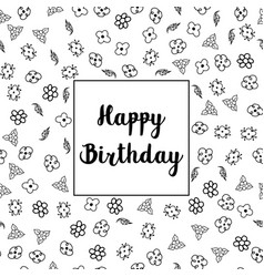 happy birthday floral greeting card design vector image