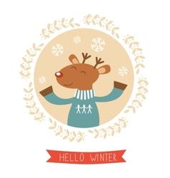 Hello winter card with cute deer boy portrait vector image vector image