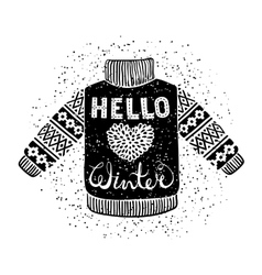 Hello winter text and knitted wool pullover with a vector image vector image