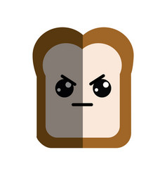 Kawaii cute angry bread icon vector