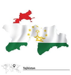 Map of Tajikistan with flag vector image vector image